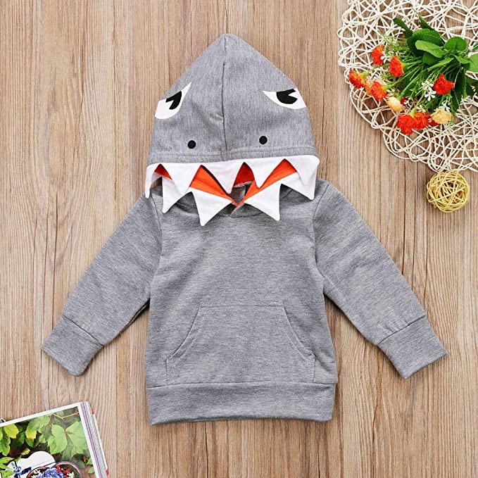 Amazon.com: Clearance! Fheaven Toddler Kids Kids Boys Girls Fall Winter Coat Clothing Long Sleeves Cartoon Shark Hooded Top (18M, Gray): Home & Kitchen