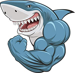 Buff Muscular Scary Smiling Great White Shark Cartoon Vinyl Decal Sticker 5""