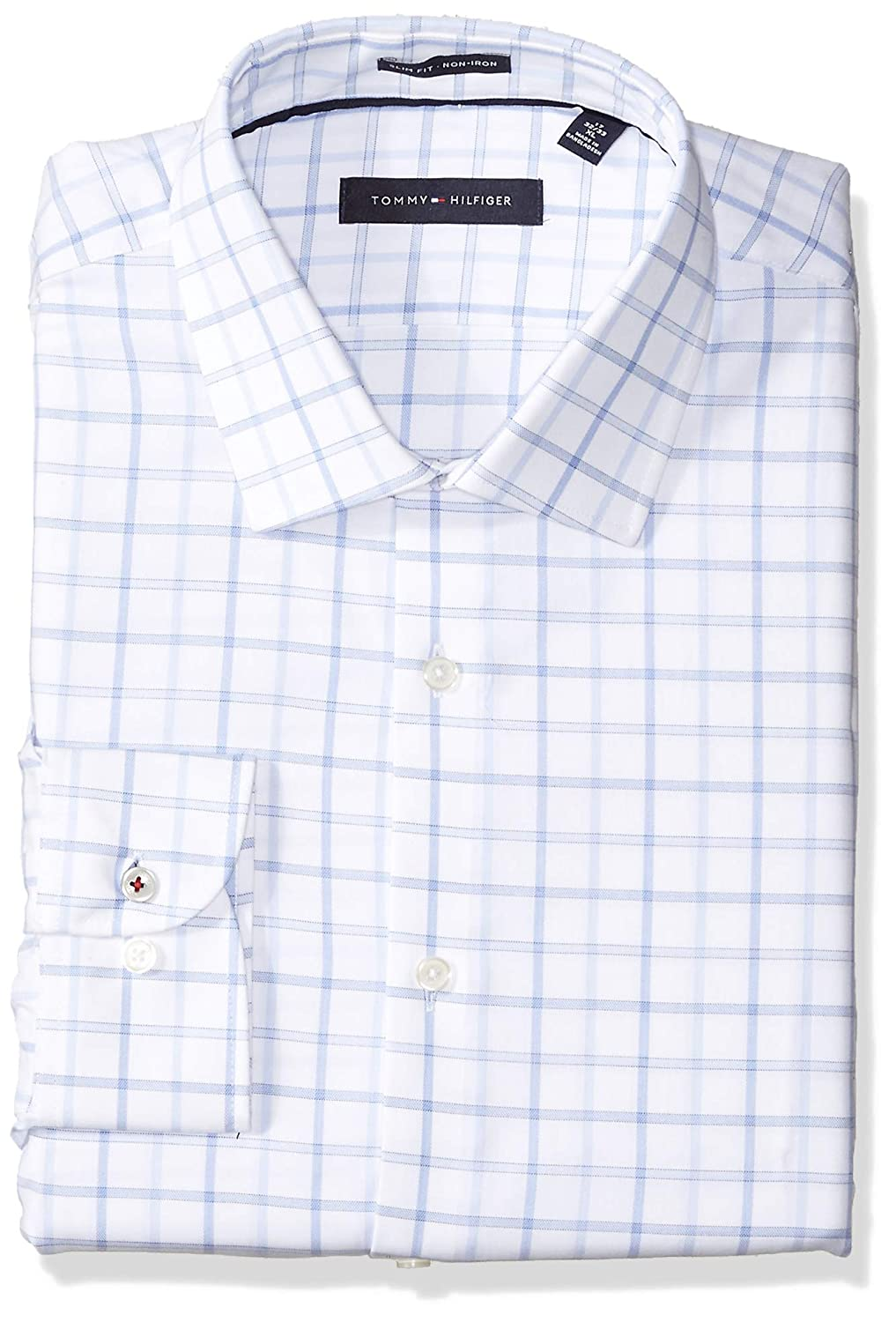 63e78177 Tommy Hilfiger Men's Dress Shirts Non Iron Slim Fit Check at Amazon Men's  Clothing store: