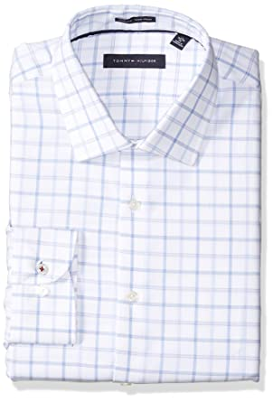 beaa37801 Tommy Hilfiger Men's Dress Shirts Non Iron Slim Fit Check, Cadet Blue,  14.5""