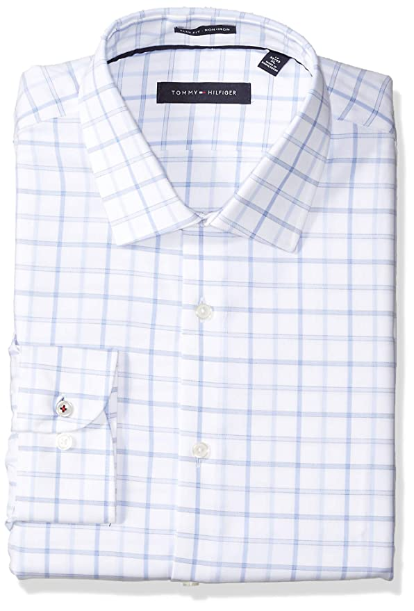 fdd724d5517d Tommy Hilfiger Men s Dress Shirts Non Iron Slim Fit Check at Amazon Men s  Clothing store
