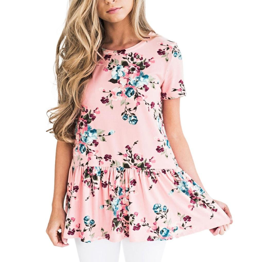 Keepwin Women's Casual Floral Printed Ruffle Hem Peplum Short Sleeve Tunic Blouse Top