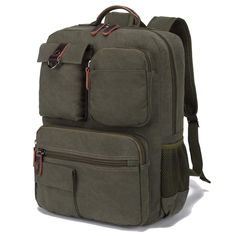 School Backpack Vintage Canvas Laptop Backpacks Men Women Rucksack Bookbags (Army Green) by CAMTOP (Image #4)