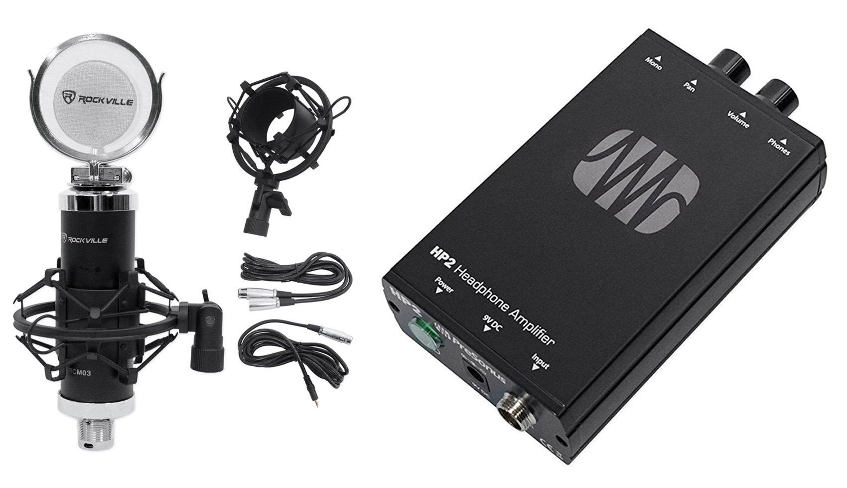 Presonus HP2 2 Channel Stereo Headphone Amplifier System HP-2+Studio Microphone by PreSonus