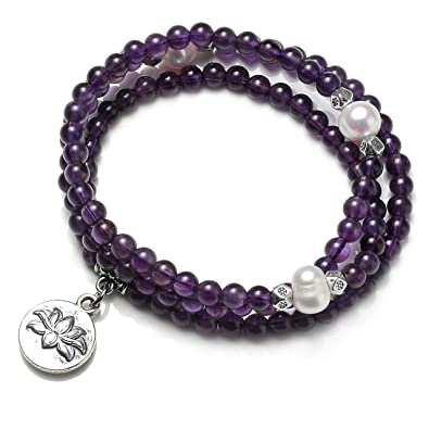 844a3c2d7c8 CrystalTears 108 Natural Amethyst Healing Energy Crystal & Cultured Pearl  Beads w/Lotus Flower Pendant
