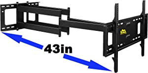 FORGING MOUNT Long Extension TV Mount, Dual Articulating Arm Full Motion Wall Mount TV Bracket with 43 inch Long Arm,Fits 42 to 90 Inch Flat/Curve TVs, Holds up to 132 lbs,VESA 600x400mm Compatible