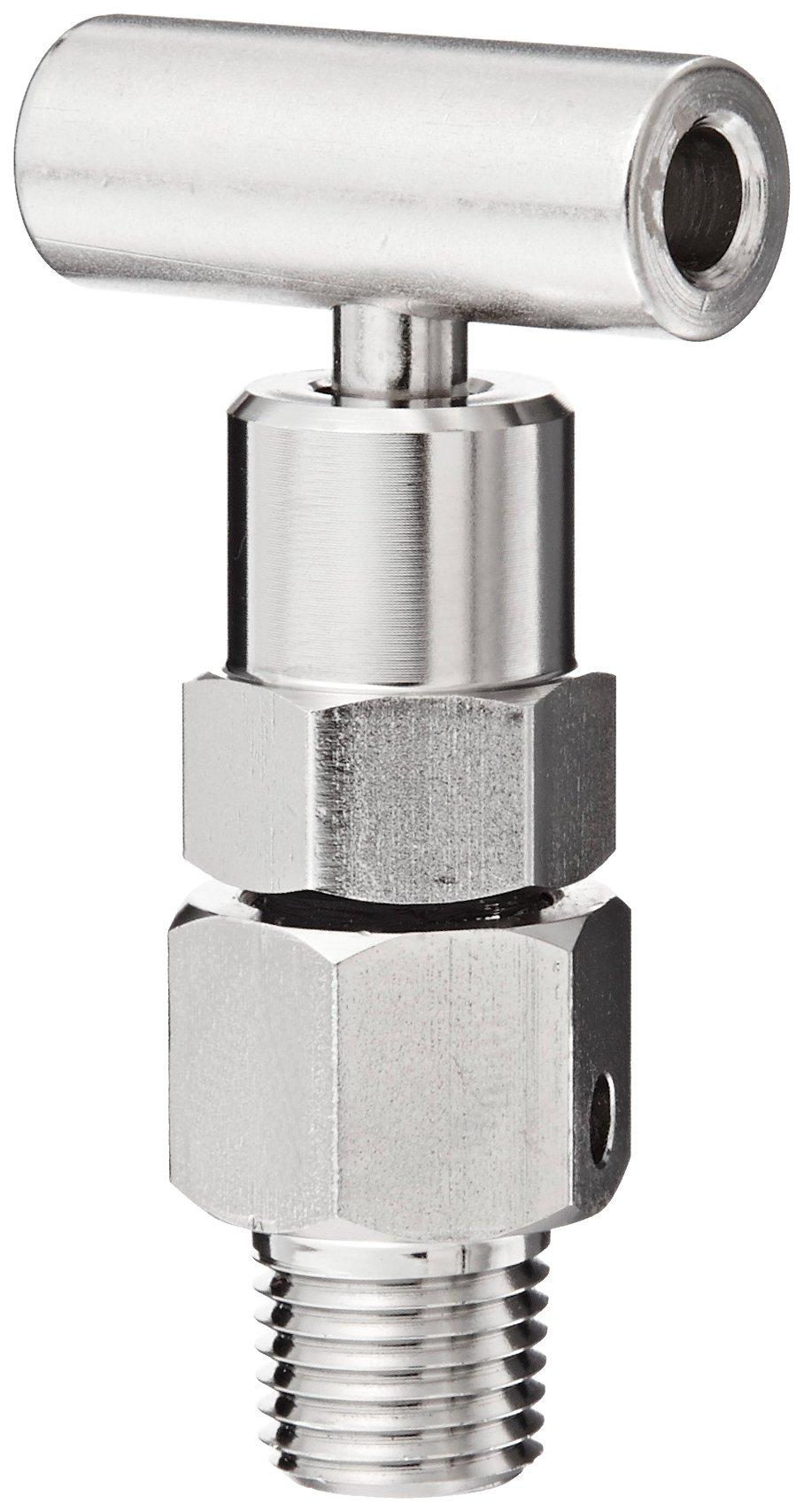 NOSHOK 800 Series Zinc-Nickel Plated Steel Bleed Hard Seat Needle Valve, 1/4'' NPT Male, 10000 psi Pressure Range