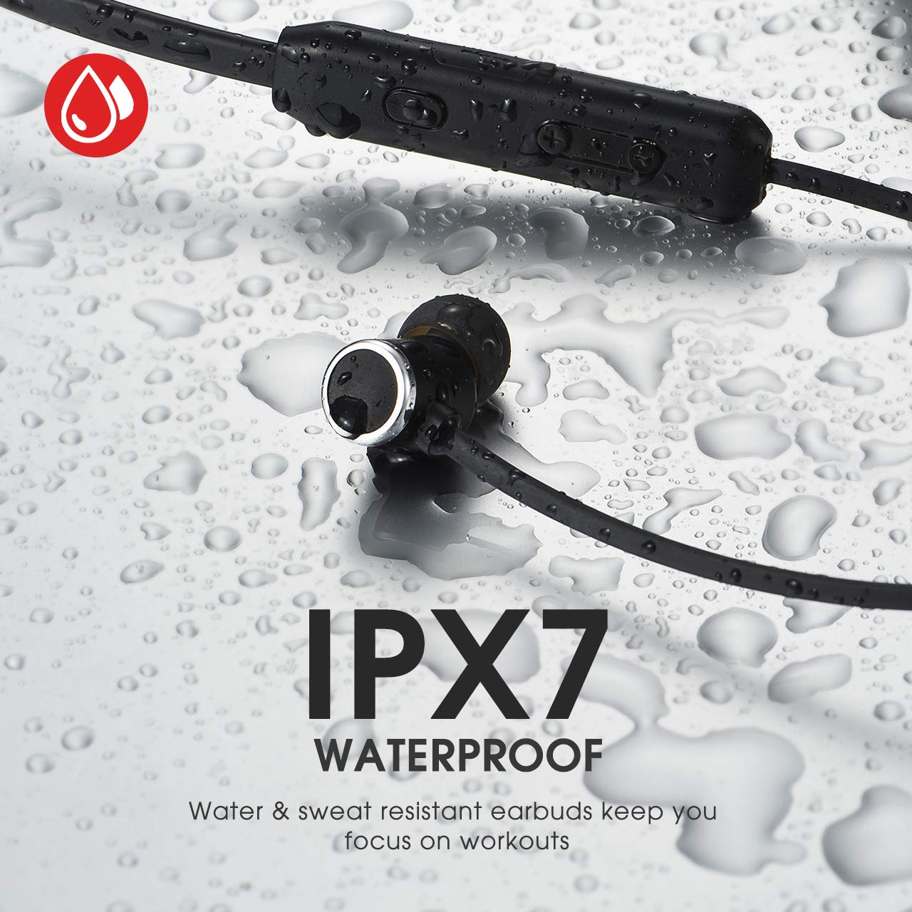 Mpow A7 Bluetooth Headphones Hifi Stereo Headsets with CVC 6.0 Noise Cancellation Wireless Neckband Headphones with Bluetooth 5.0 Magnetic In-Ear Earbuds with IPX7 Waterproof for Sports