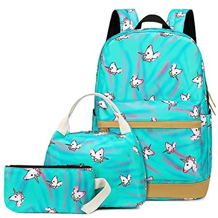 Camtop Teens Backpack For School Boys Girls School Bookbag Set Travel Daypack (A003 Backpack Set/Teal) by Camtop