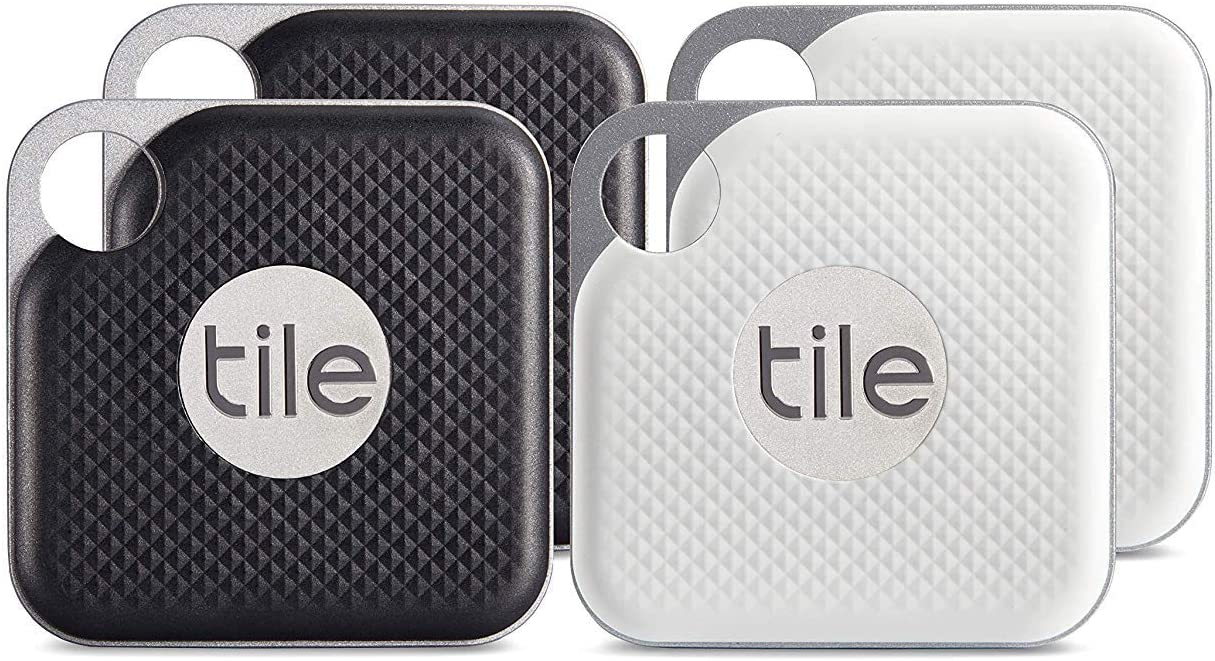 2 x Black, 2 x White 4 pack - NEW 2nd Gen Echo Dot - Black with Tile Mate with Tile Pro with Replaceable Battery