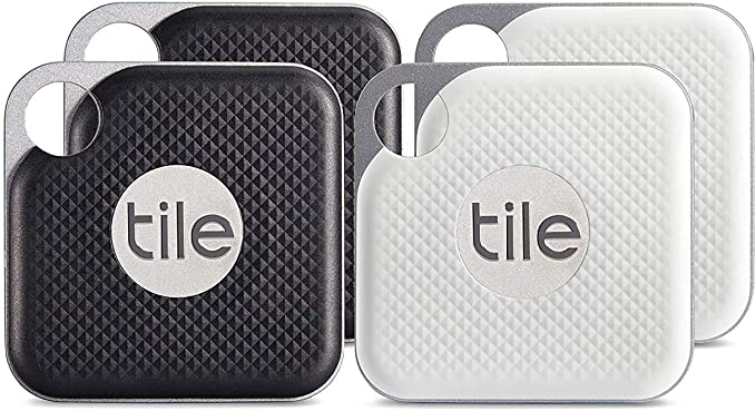 tile inc pro black and white combo bluetooth tracker and finder water resistant replaceable battery easy to attach for keys pet collars and