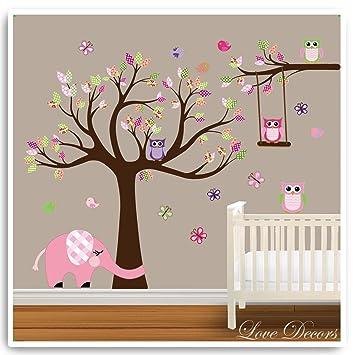 Owl Tree Wall Stickers By Love Decors Animal Elephant Decal Mural Deco  Decor Nursery Bedroom Art