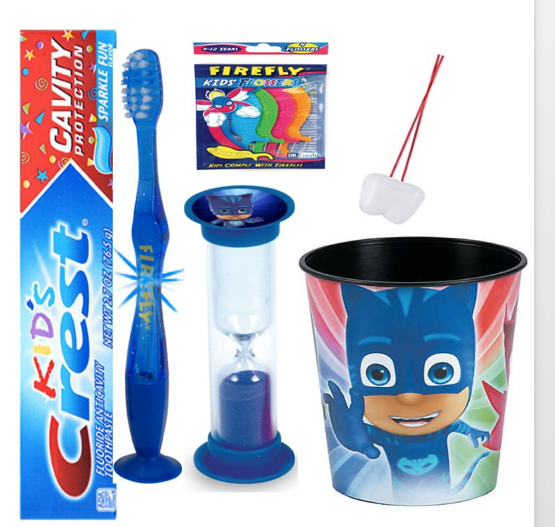 """PJ Masks """"Catboy"""" inspired 4pc Bright Smile Oral Hygiene Bundle! Flashing Lights Toothbrush, Toothpaste, Brushing Timer &Mouthwash Rinse Cup! Plus Bonus Flossers &Tooth Necklace as Visual Aid Reminder"""