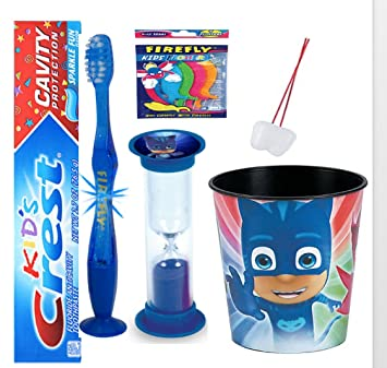 "PJ Masks ""Catboy"" inspired 4pc Bright Smile Oral Hygiene Bundle! Flashing Lights Toothbrush"