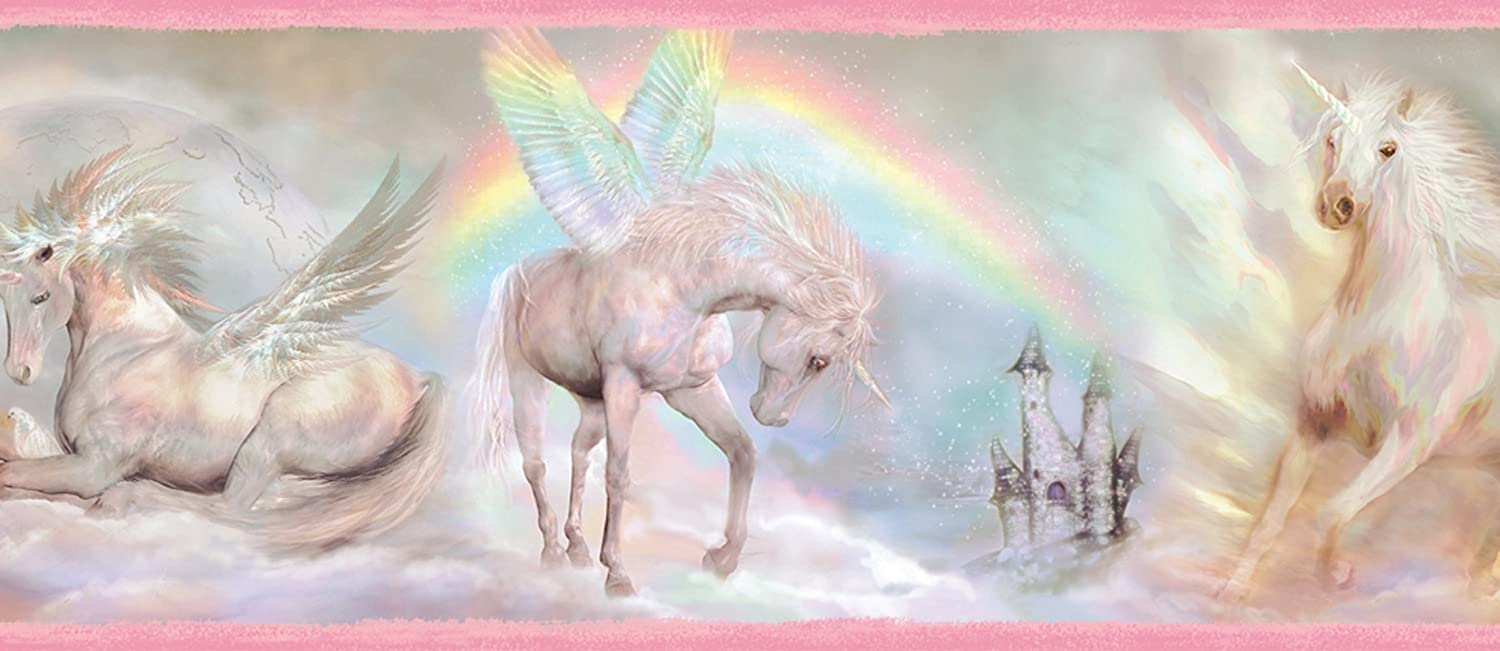 Chesapeake TOT46441B Farewell Pink Unicorn Dreams Portrait Wallpaper Border Beacon House