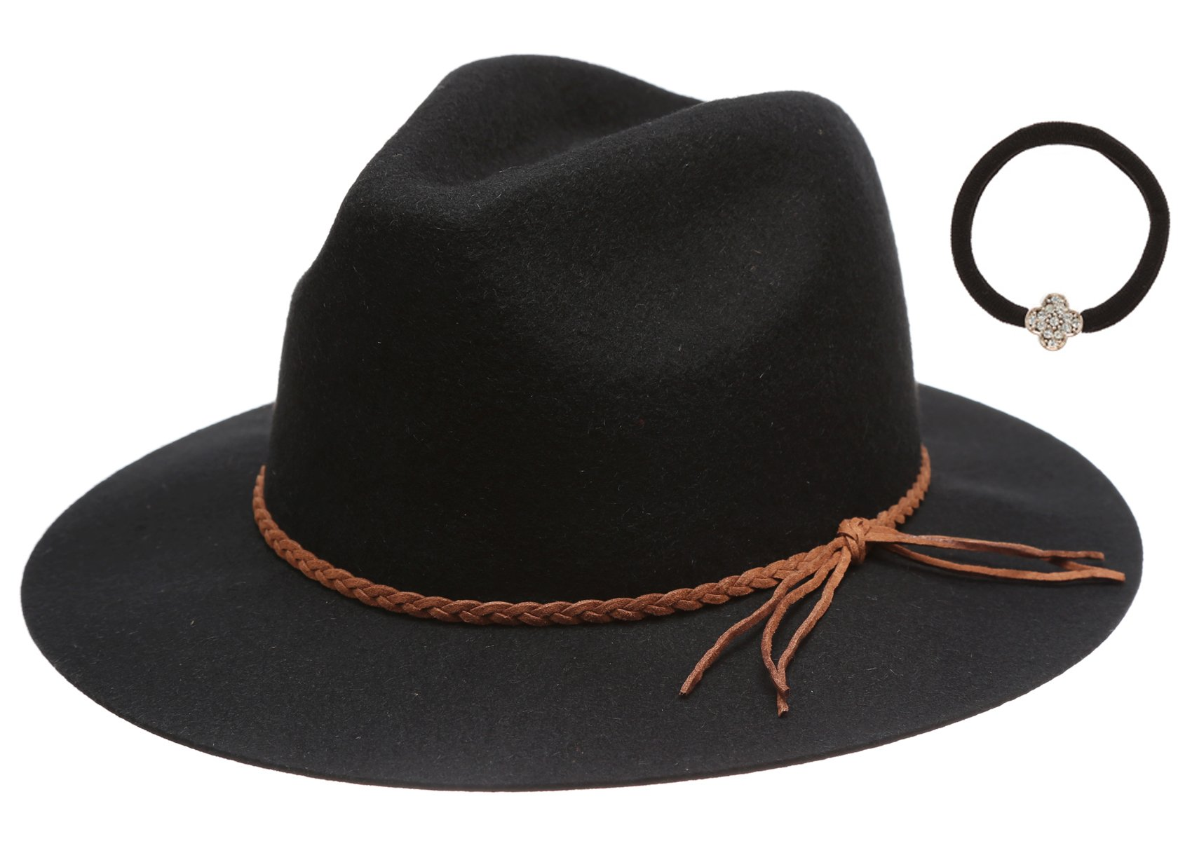 Women's 100% Wool Felt Cloche Short Brim Floppy Fedora Hat with Scrunchy (Braid Black)