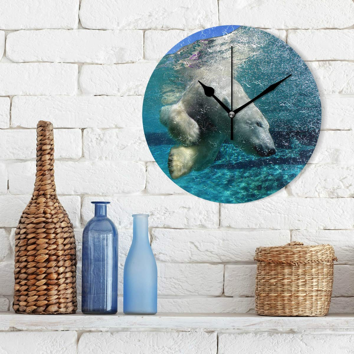 Amazon.com: Amehome White Bear Swimming The Sea Round Acrylic Wall Clock Non Ticking Silent Clock Art for Living Room Kitchen Bedroom: Home & Kitchen