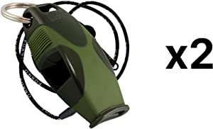Fox 40 Sharx Pealess Whistle with Breakaway Lanyard - Green/Green (2-Pack)