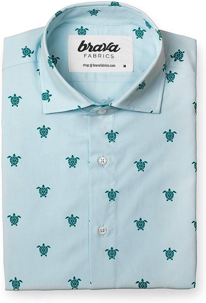 Brava Fabrics | Camisa Hombre Manga Corta Estampada | Camisa Azul para Hombre | Camisa Casual Regular Fit | 100% Algodón | Modelo Turtle with Love | Talla S: Amazon.es: Ropa y accesorios