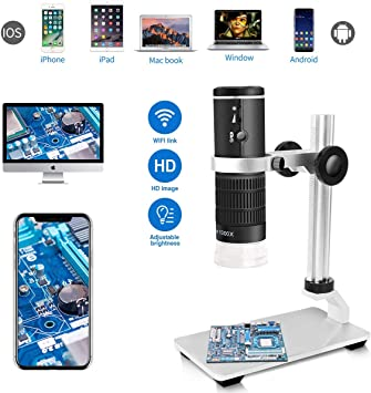 Cainda WiFi Digital Microscope for iPhone Android Phone Mac Windows HD 1080P Video Record 50-1000X Magnification Wireless Portable Microscope with Adjustable Metal Stand and Carrying Bag