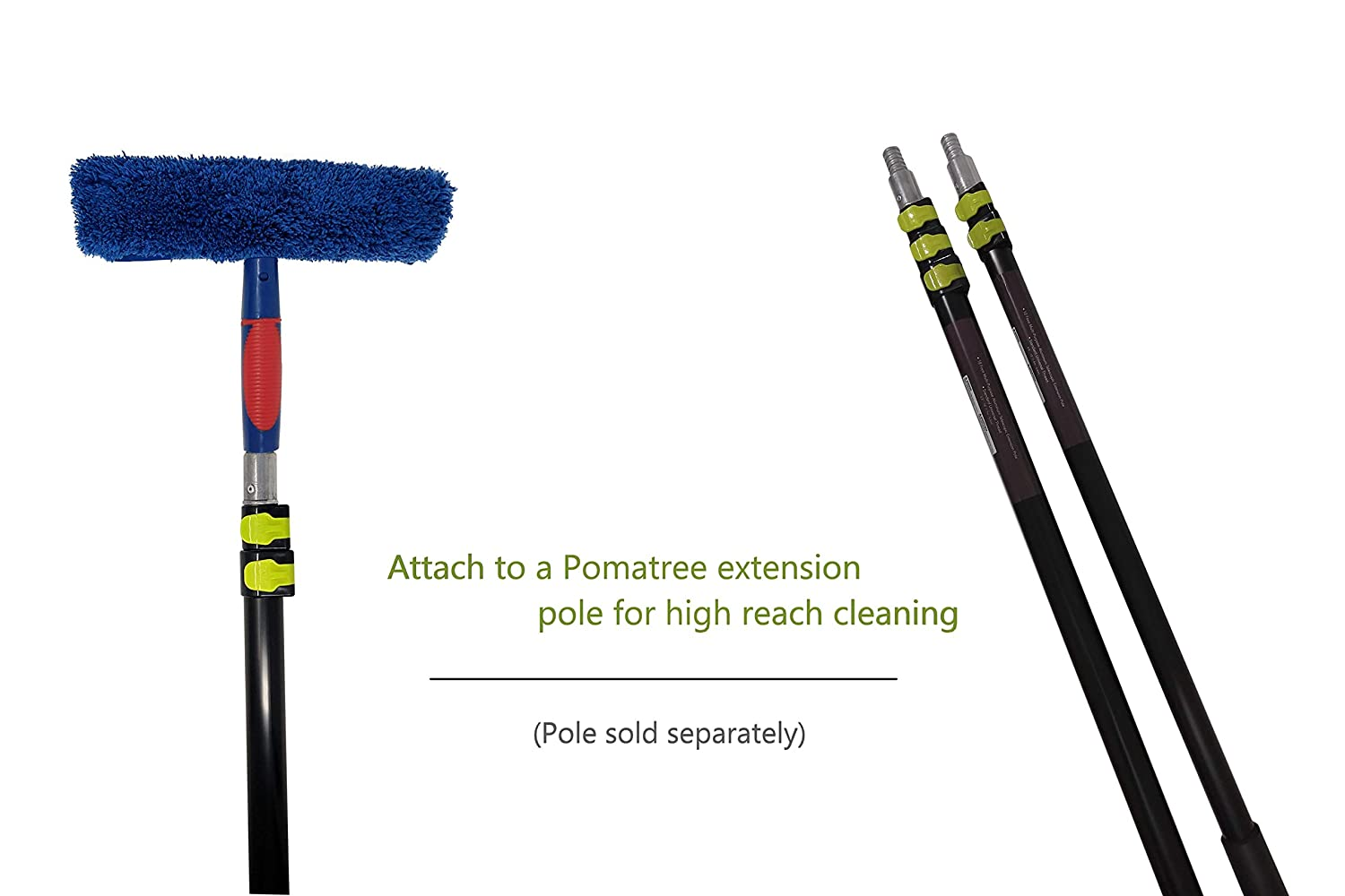 For Commercial and Home Use 2-in-1 Window Washer Cleaning Tools Combo Window Cleaner Attachment Tool for Extension Pole Shower Pomatree Window Cleaning Squeegee and Microfiber Washing Scrubber