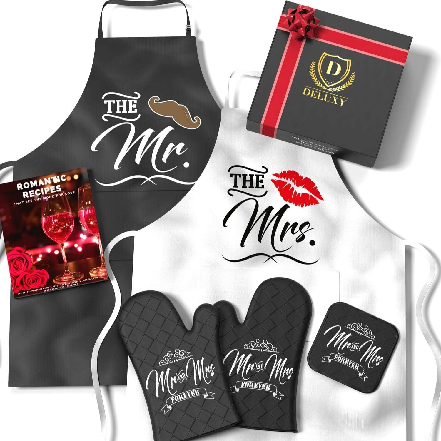 DELUXY Mr and Mrs Aprons For Happy Couple - Memorable Bridal Shower Gifts For Bride, Engagement Gifts For Her, Wedding Gifts For The Couple- Romantic Recipe Book, Oven Mitts & Potholder