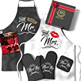 DELUXY Mr & Mrs Aprons For Happy Couple - Memorable Bridal Shower Gifts For Bride, Engagement Gifts For Her, Wedding Gifts Fo