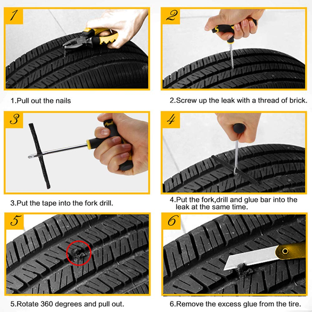 MINGWEN Universal Kit de Reparación de Neumáticos para Arreglar Pinchazos y Plug Flats Value Pack para Autos, Camiones, Motocicletas Herramienta de ...
