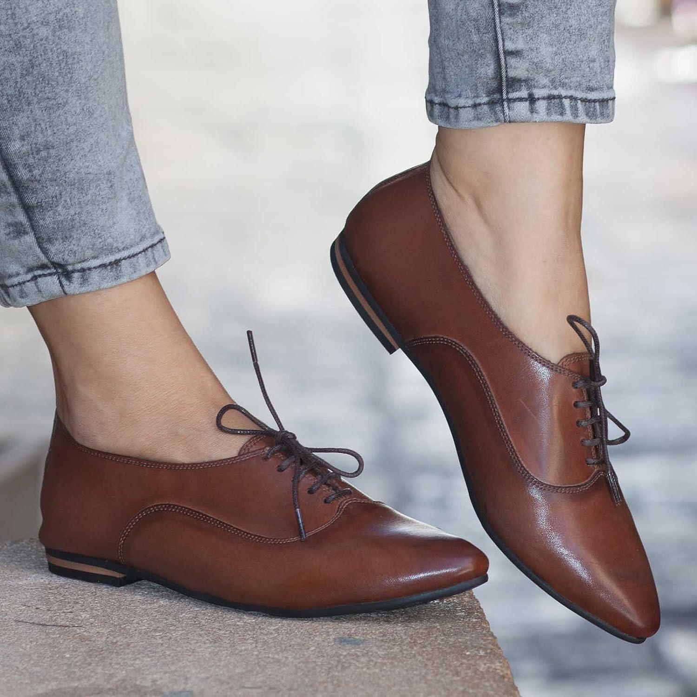 32bf0f5384b89 Amazon.com: Brown Women's Handmade leather Oxford Shoes: Handmade
