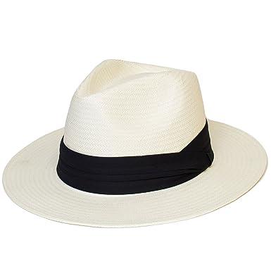 Unisex Mens Women Ladies Plain Woven Fedora Felt Trilby Panama Hat With  Black Band - 3887a4a7bd4c