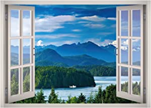 Lake Mountain Landscape View Window 3D Wall Decal Art Removable Wallpaper Mural Sticker Vinyl Home Decor West Mountain W13 (MEDIUM (32''W x 23''H))