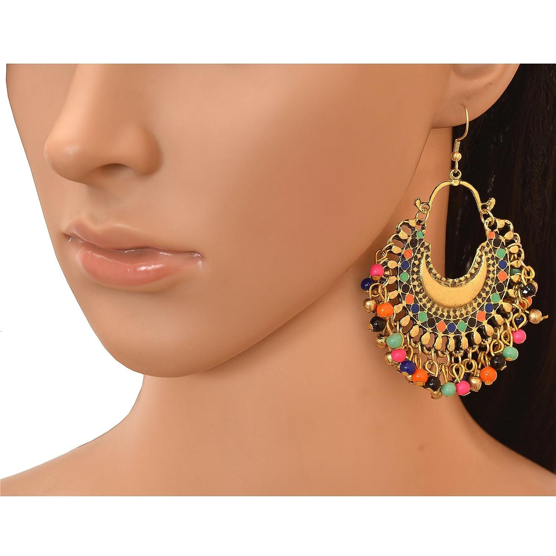 Zephyrr Afghani Multicolor German Silver Drop//Hook Earrings//Chandbali Set Of 3 CO-1177