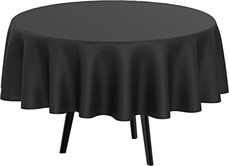 Amazon Com Round Black Tablecloths Plastic Disposable Table Cloth 84 Inches 4 5 Or 6 Foot Round Tables Manteles Para Fiestas Christmas Parties Halloween Party Tablecloth 6 Pack Kitchen Dining