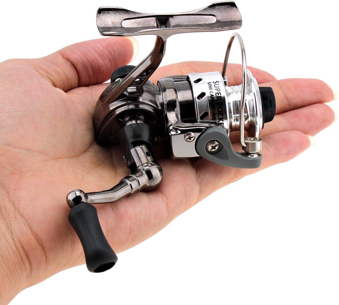 Origlam Mini pesca Carretes Spinning Carrete 4,3: 1 gear Metal ...