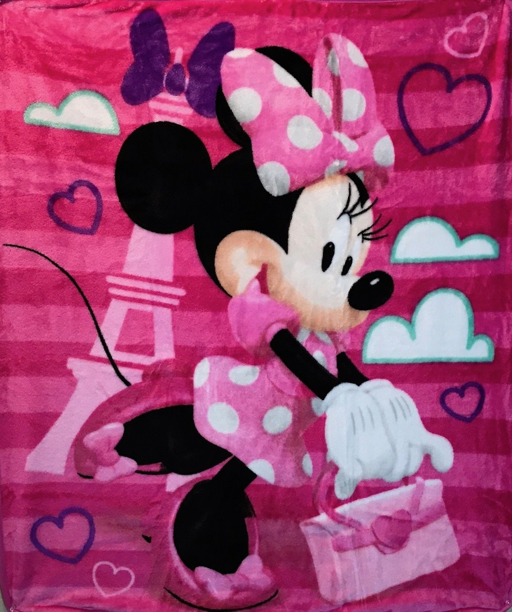 Disney Minnie Mouse ''Travel in Style'' Royal Plush Blanket, Measures 40 by 50 inches