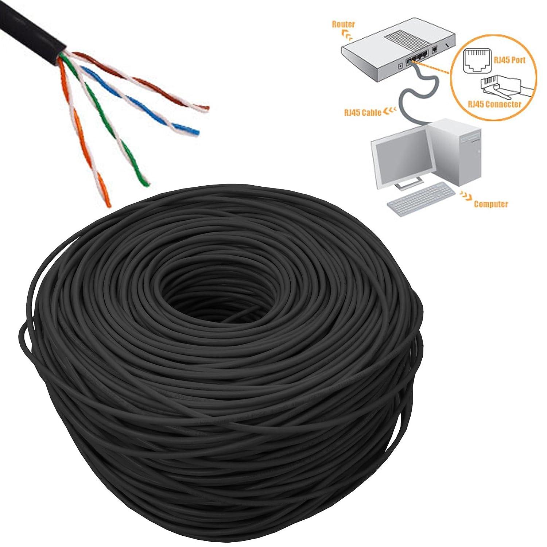 Safekom 305 M Negro RJ45 Cat5e - -de rollo de Internet Red LAN Ethernet Modem Router ADSL Cable Negro 305 M 1000 ft DSL UTP 4 pair Patch carrete de cable: ...