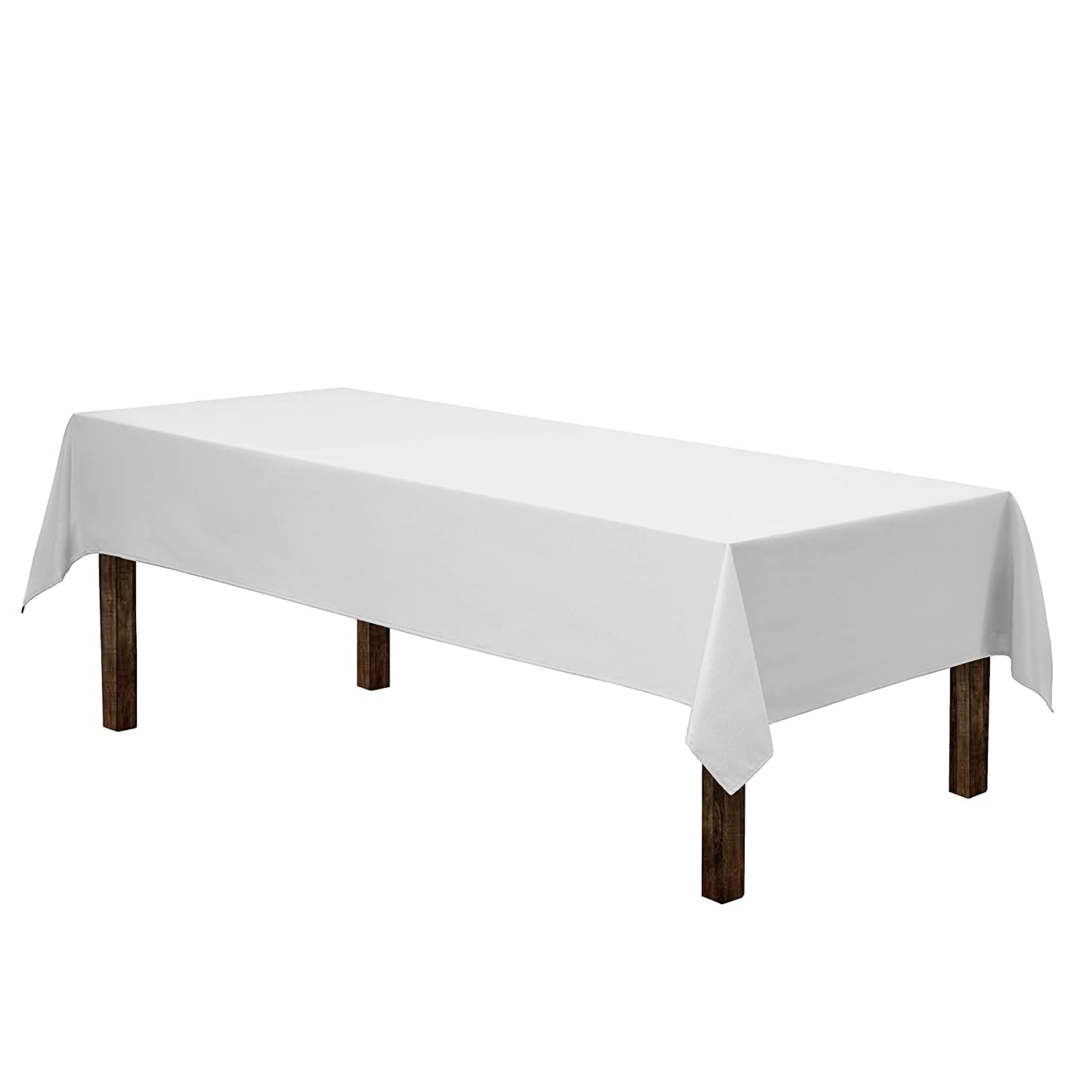 """Gee Di Moda Rectangle Tablecloth - 60 x 126"""" Inch - White Rectangular Table Cloth for 8 Foot Table in Washable Polyester - Great for Buffet Table, Parties, Holiday Dinner, Wedding & More"""