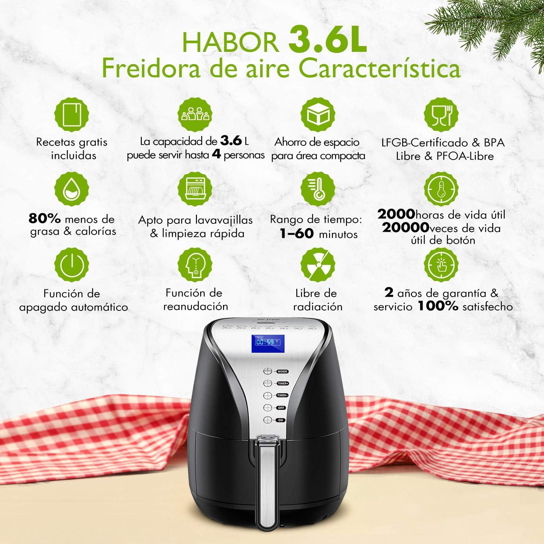 Habor Freidora sin aceite Freidora de aire caliente,1800W,120 minutos función de preservación del calor, 7 programas pre-establecidos, Recetas españolas incluidas, Libre de BPA (3,6L Botón): Amazon.es: Hogar