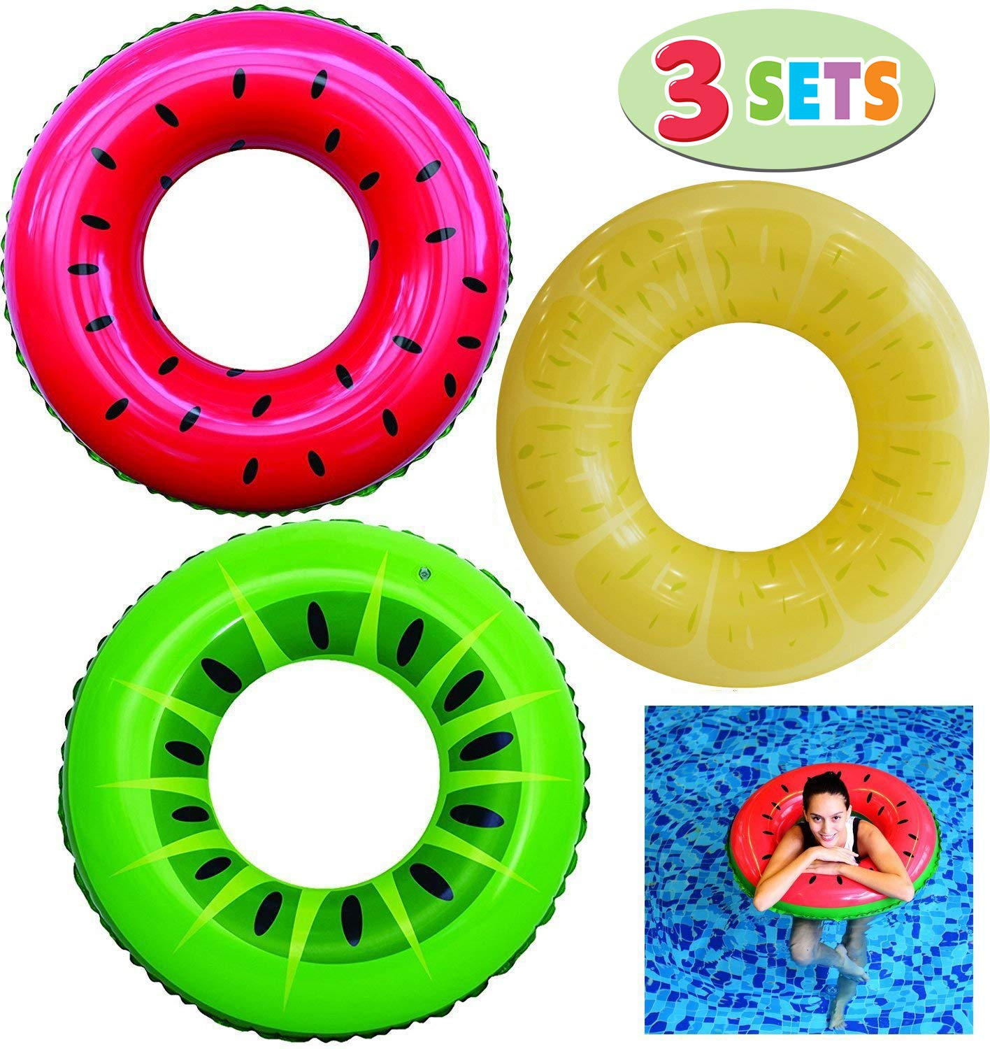 JOYIN Inflatable Swim Tube Raft (3 Pack) with Summer Fruits Painting, Pool Toys for Swimming Pool Party Decorations