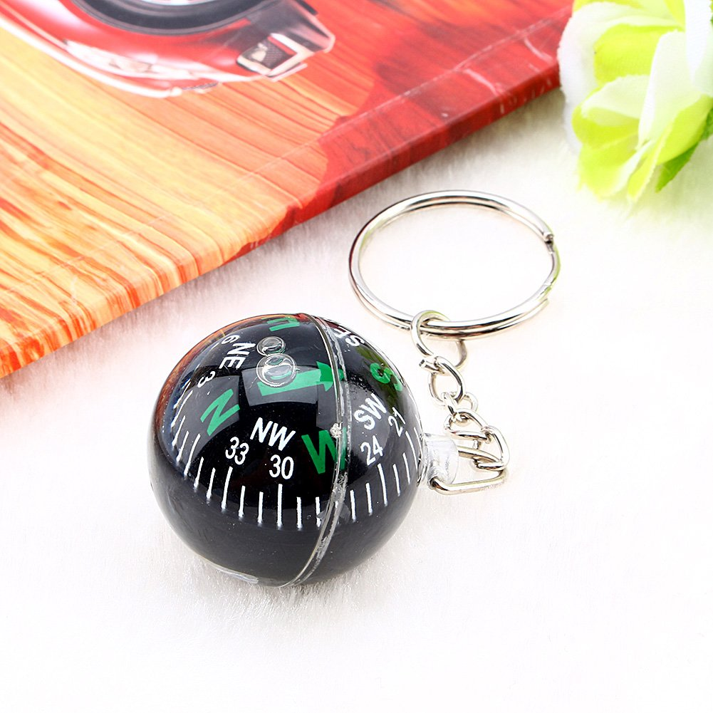 Alomejor 2 St/ücke Mini Compass 2 in 1 Multifunktionale LED-Beleuchtung Kompass Keychain Compass