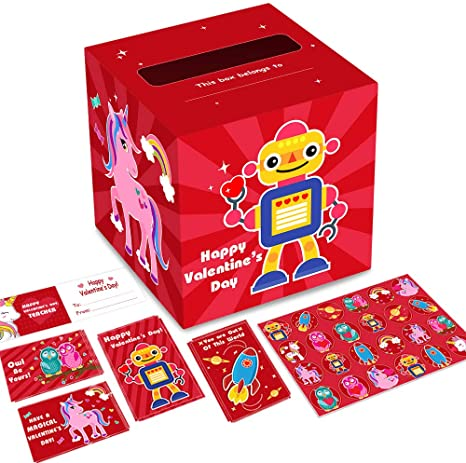 Valentine Boxes for Kids Valentine/'s Day Mailbox for Classroom Exchange School Party Favors Supplies 51Ct