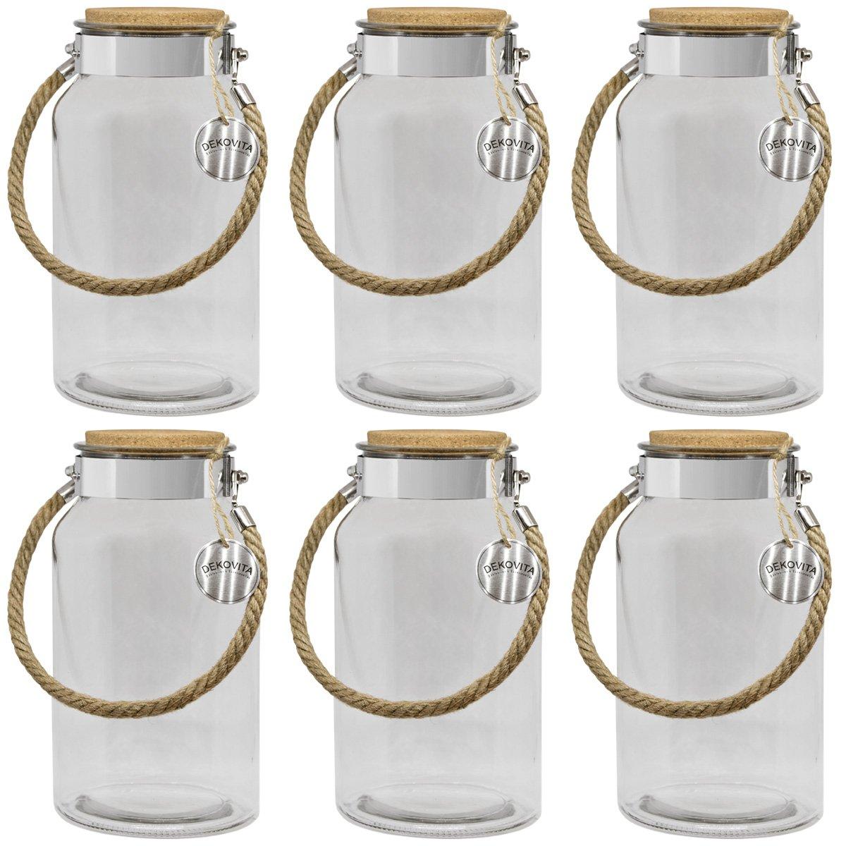 Dekovita vaso portaoggetti 5l: A:30/D:16/A: 10, 6cm lanterna da giardino vasetto in vetro vetro decorativo lanterna vaso