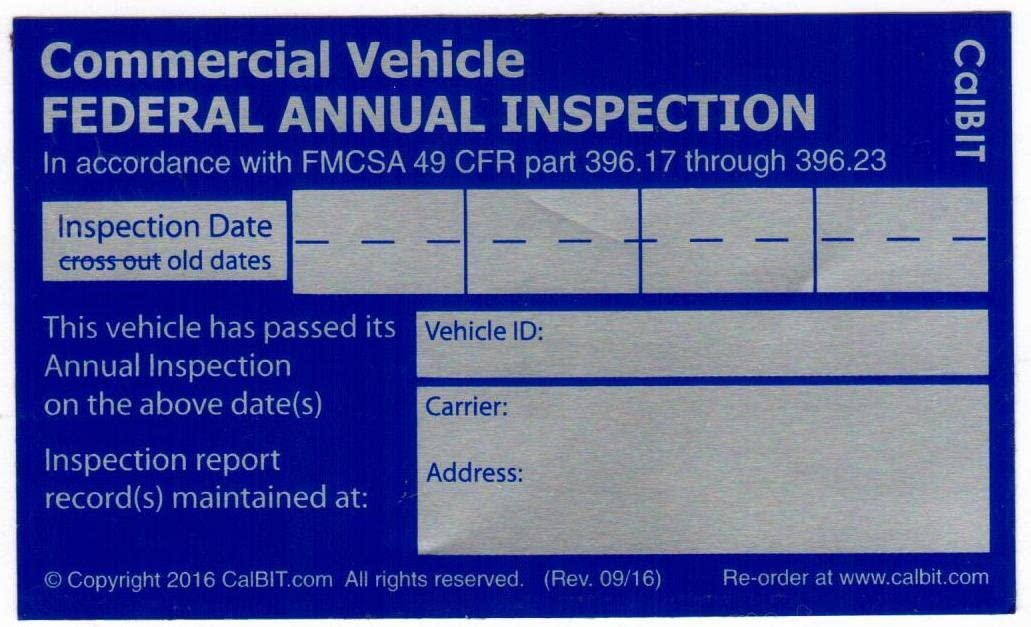 inspection annual fmcsa label vehicle sticker dot federal decal placement