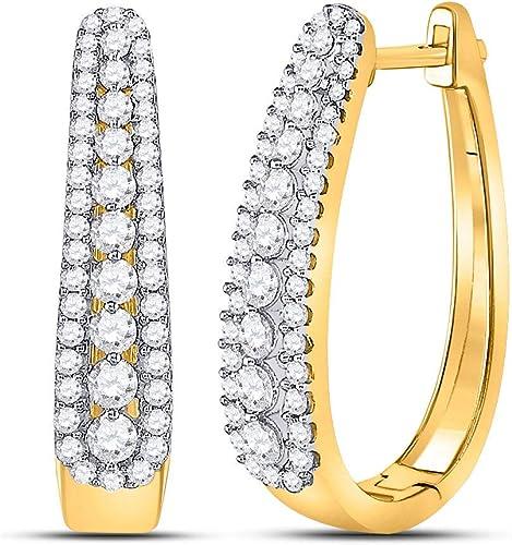 10k Yellow Gold Hoop Earrings Diamond Cut New In Box 78\u201d