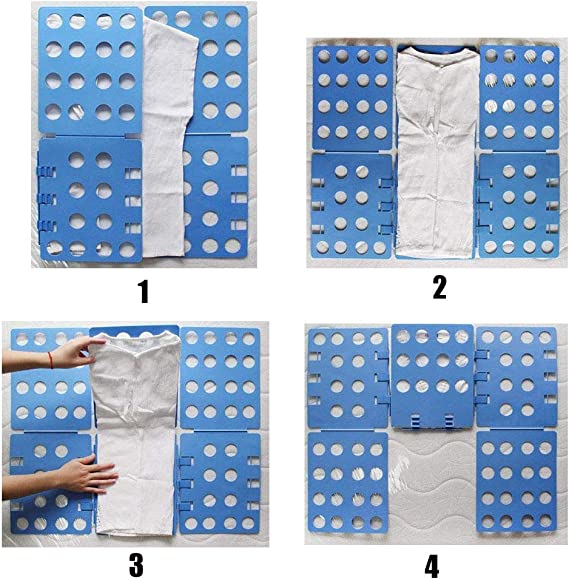 Dylan Alerander Shirt Folding Board Adjustable Clothes Clip Durable Plastic Laundry Folders Quick and Easy Folding Board for Adults and Children,Blue Folding Boards Flipfold