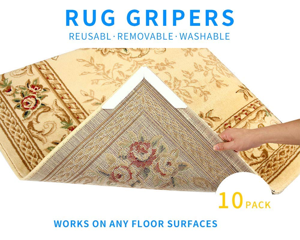 Anti Slip Rug Grippers 10 pcs Reusable Removable Washable Provides Protection and Cushion for Area Rugs and Hardwood Floors