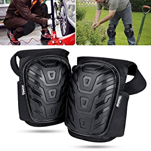 Vastar Knee Pads for Work - Adjustable Professional Kneepads with Gel Cushion for Work Indoor and Outdoor, Construction, Gardening, Flooring And More, Neoprene Straps Knee Pads