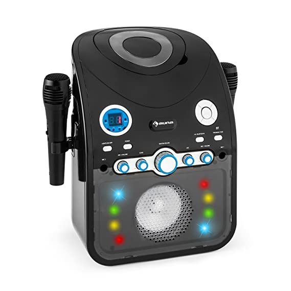auna StarMaker • Karaokemaschine • Kinder Karaoke Player • Karaoke Anlage • Bluetooth • Multicolor LED-Lichteffekt • CD-Playe