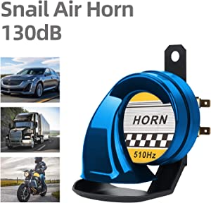 SEINECA Snail Air Horn Universal 12V High Tone 510HZ Waterproof Electric 130DB Horn Siren for Motorcycle Auto Car Scooter(Blue)