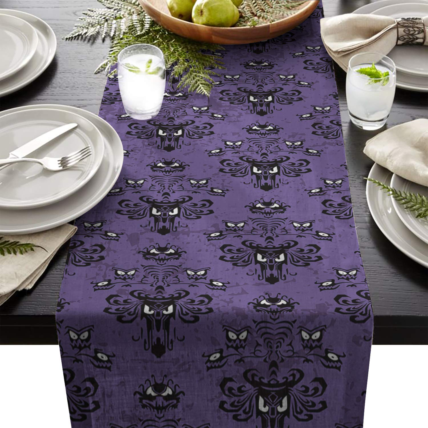 FAMILYDECOR Linen Burlap Table Runner Dresser Scarves, Halloween Decor Ghost Face Pattern Haunted Mansion Kitchen Table Runners for Dinner Holiday Parties, Wedding, Events, Decor - 13 x 70 Inch